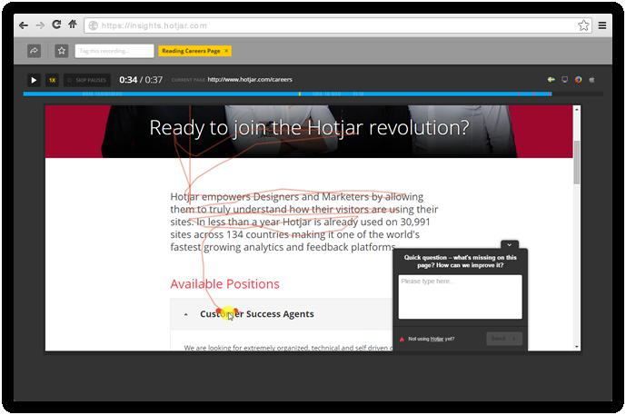 Recording screenshot from hotjar.com